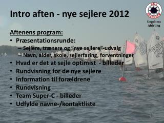 Intro aften - nye sejlere 2012