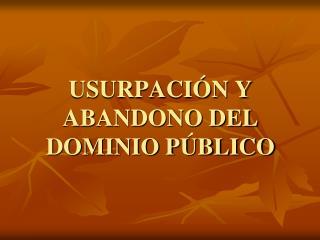 USURPACIÓN Y ABANDONO DEL DOMINIO PÚBLICO