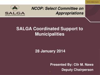 SALGA Coordinated Support to Municipalities   28 January 2014