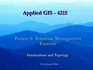 Applied GIS - 4215