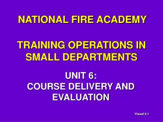 TRAINING OPERATIONS IN SMALL DEPARTMENTS