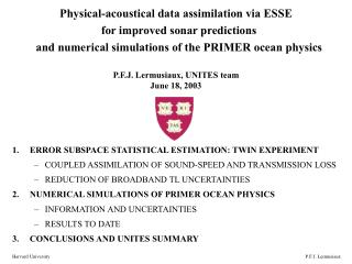 Physical-acoustical data assimilation via ESSE   for improved sonar predictions