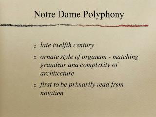 Notre Dame Polyphony