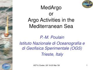 MedArgo or  Argo Activities in the Mediterranean Sea