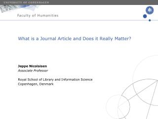 What is a Journal Article and Does it Really Matter?
