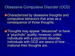 Obsessive-Compulsive Disorder OCD