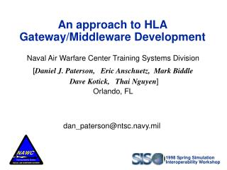 An approach to HLA  Gateway/Middleware Development