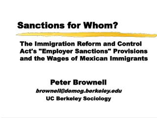 Sanctions for Whom?