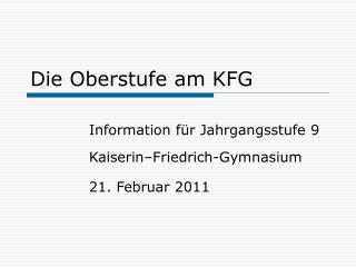 Die Oberstufe am KFG