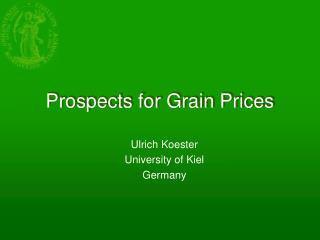 Prospects for Grain Prices
