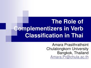 The Role of Complementizers in Verb Classification in Thai