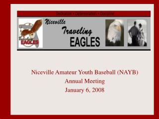 Niceville Amateur Youth Baseball (NAYB) Annual Meeting January 6, 2008