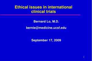 Ethical issues in international clinical trials