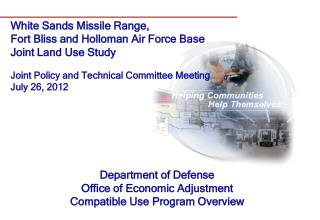 Department of Defense Office of Economic Adjustment Compatible Use Program Overview