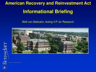 American Recovery and Reinvestment Act Informational Briefing