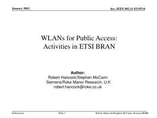 WLANs for Public Access: Activities in ETSI BRAN