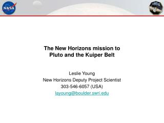 The New Horizons mission to  Pluto and the Kuiper Belt
