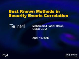 Best Known Methods in Security Events Correlation