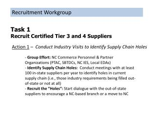 Task 1 Recruit Certified Tier 3 and 4 Suppliers