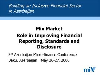 Building an Inclusive Financial Sector in Azerbaijan
