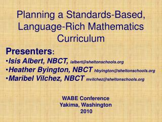 Planning a Standards-Based, Language-Rich Mathematics Curriculum