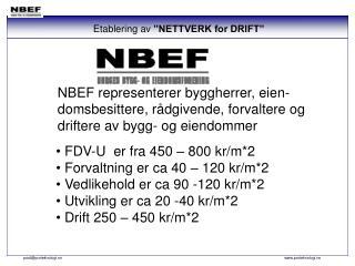 """Etablering av  """"NETTVERK for DRIFT"""""""