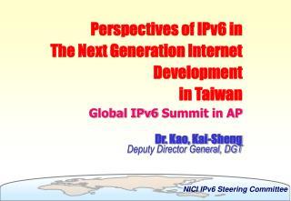 Dr. Kao, Kai-Sheng Deputy Director General, DGT