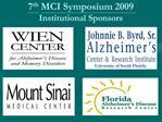 7th MCI Symposium 2009  Institutional Sponsors
