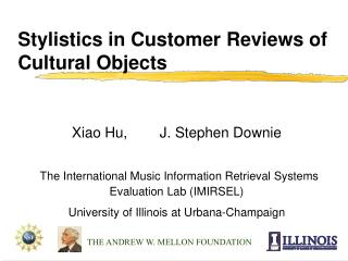 Stylistics in Customer Reviews of Cultural Objects