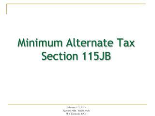 Minimum Alternate Tax Section 115JB