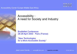 Accessibility :  A need for Society and Industry