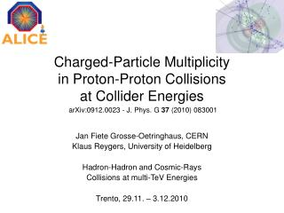 Charged-Particle Multiplicity  in Proton-Proton Collisions at Collider Energies