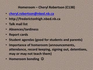Homeroom – Cheryl Robertson (C138)