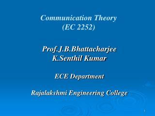 Communication Theory   (EC 2252)