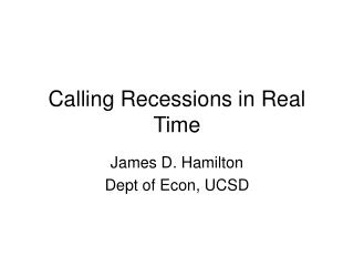 Calling Recessions in Real Time