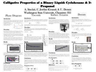 Colligative Properties of a Binary Liquid: Cyclohexane  2-Propanol   A. Sinclair, C. Jordan Grunst,  U. Dennis  Washingt