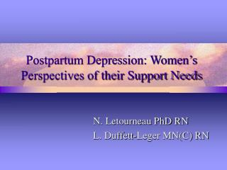 Postpartum Depression: Women's Perspectives of their Support Needs