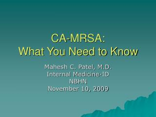 CA-MRSA: What You Need to Know