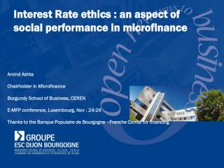 Interest Rate ethics : an aspect of  social performance in microfinance