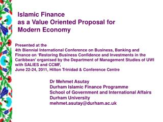 Islamic Finance  as a Value Oriented Proposal for  Modern Economy