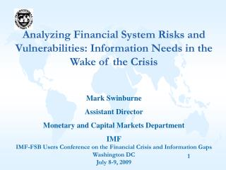 Analyzing Financial System Risks and Vulnerabilities: Information Needs in the Wake of the Crisis