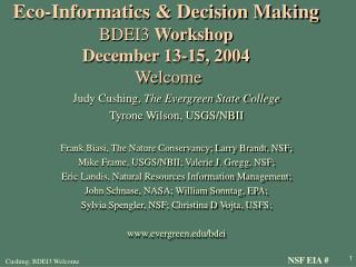 Eco-Informatics & Decision Making BDEI3  Workshop December 13-15, 2004 Welcome
