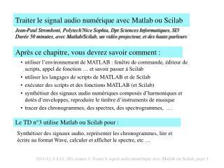 Traiter le signal audio numérique avec Matlab ou Scilab