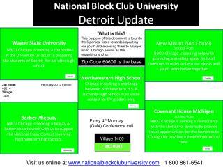 National Block Club University  Detroit Update