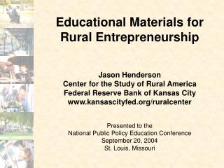 Educational Materials for  Rural Entrepreneurship
