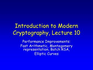 Introduction to Modern Cryptography, Lecture 10