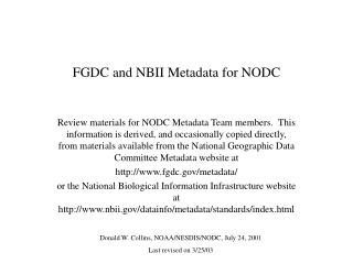 FGDC and NBII Metadata for NODC
