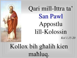 Qari  mill- Ittra  ta'  San Pawl  Appostlu lill-Kolossin