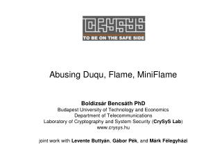 Abusing Duqu, Flame, MiniFlame