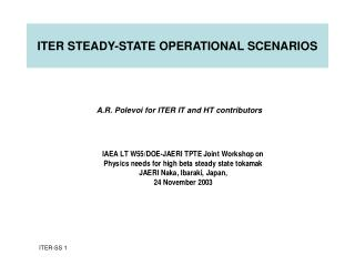 ITER STEADY-STATE OPERATIONAL SCENARIOS